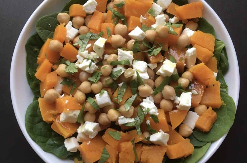 Salade de courge butternut, pois chiches et feta