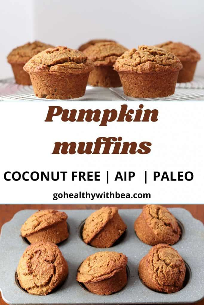 a graphic with 2 pictures of pumpkin muffins and the title in the middle