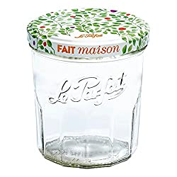 Faceted French glass jelly jar from the brand Le Parfait