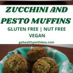 6 zucchini and pesto muffins and basil leaves