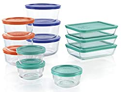 A set of 12 glass food storage containers