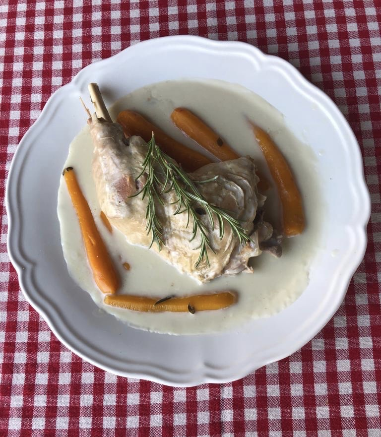 Turkey stew with carrots in a white plate