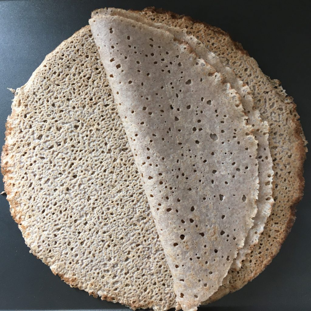 A pile of gluten free buckwheat crepes