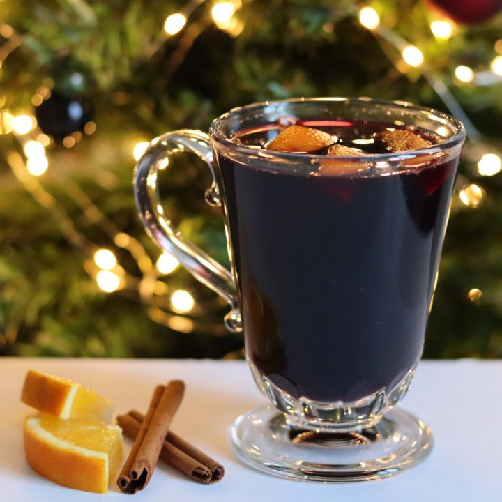 Mulled wine in a glass cup