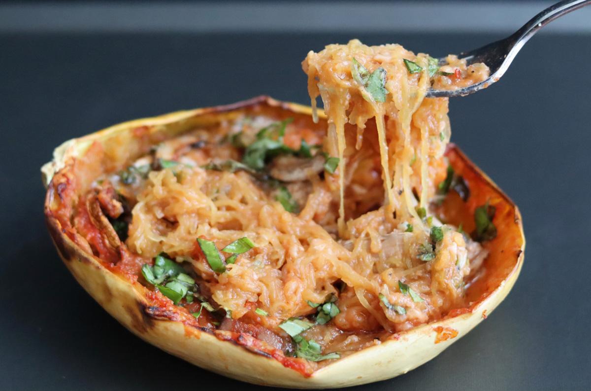 Courge spaghetti farcie végétarienne (sans gluten)