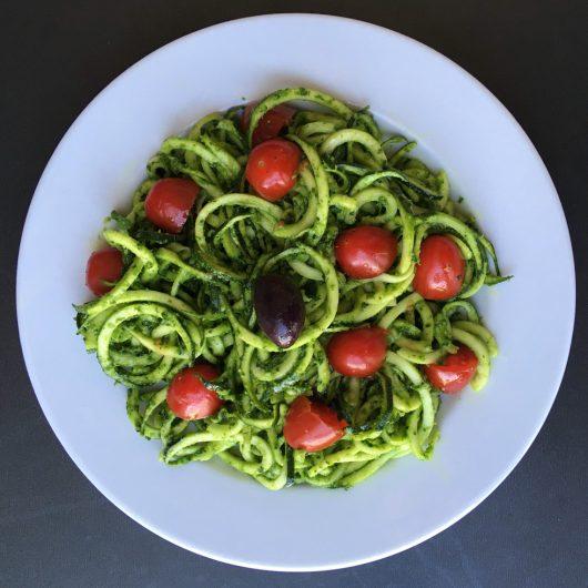 Zucchini noodles with pesto (gluten free, paleo)