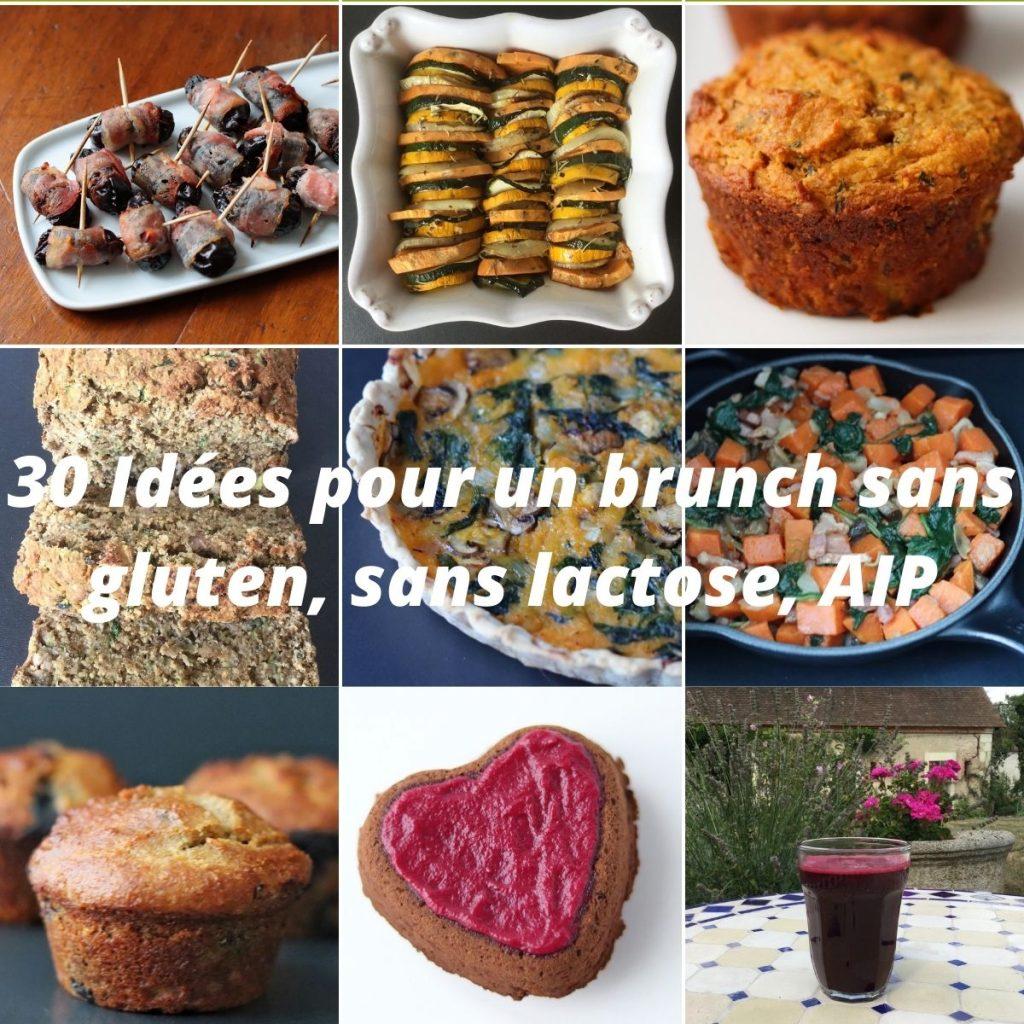 collage de photos de recettes incluses dans la liste d'idées pour un brunch maison sans gluten, sans lactose, sans oeuf et AIP