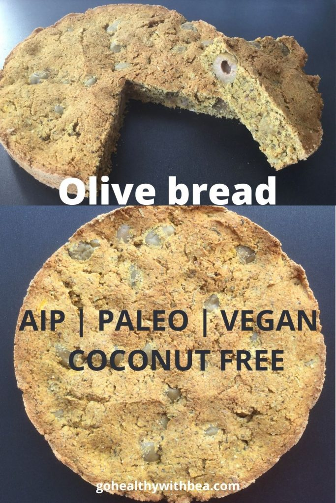 2 pictures of an AIP olive bread with a text overlay
