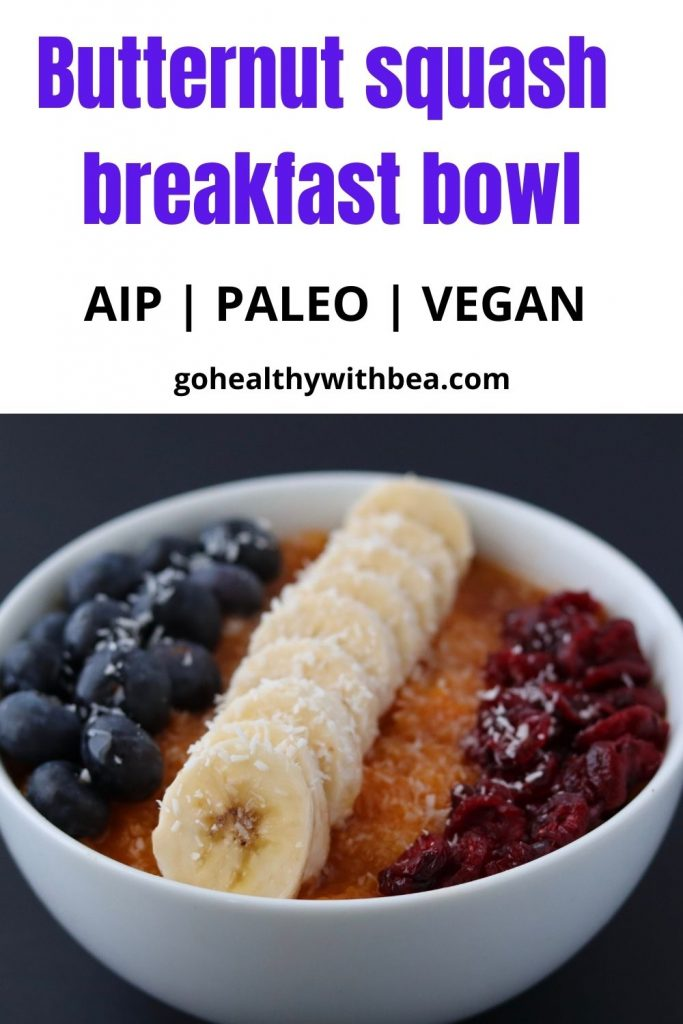 a graphic with a picture of a butternut squash breakfast bowl and a text overlay with the title