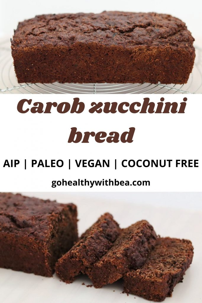 2 pictures of a carob zucchini bread and a text layer in the middle with the title