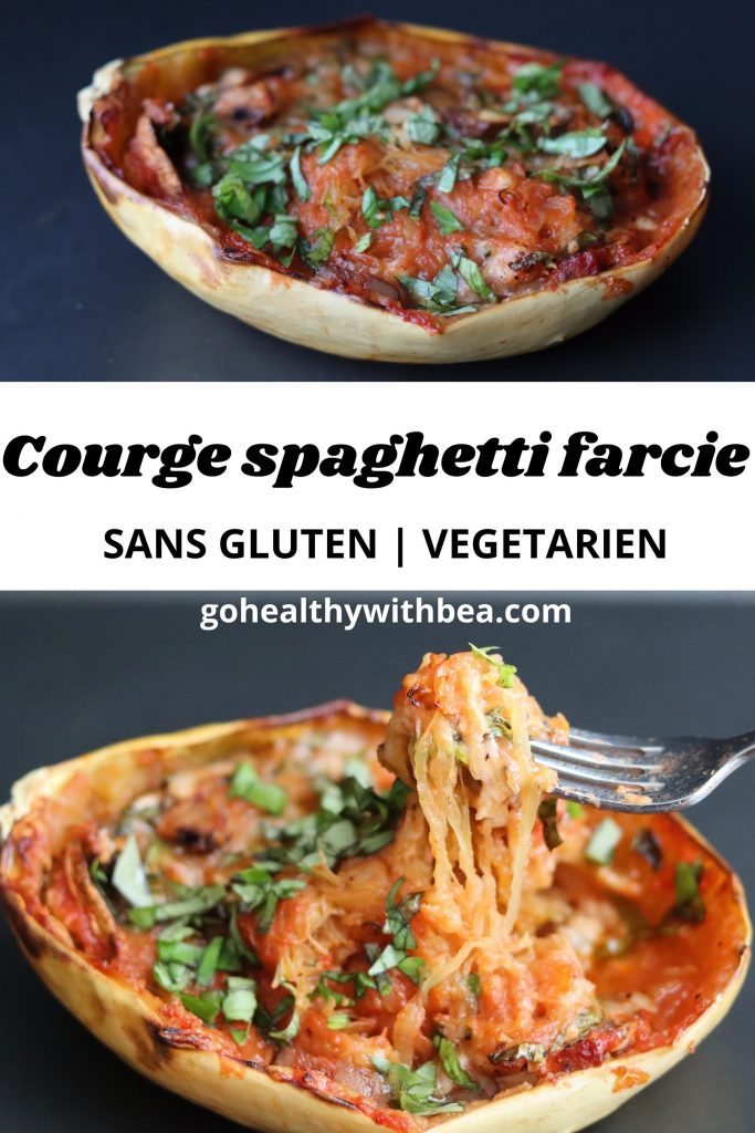 graphisme avec 2 photos de courge spaghetti farcie et le titre au milieu