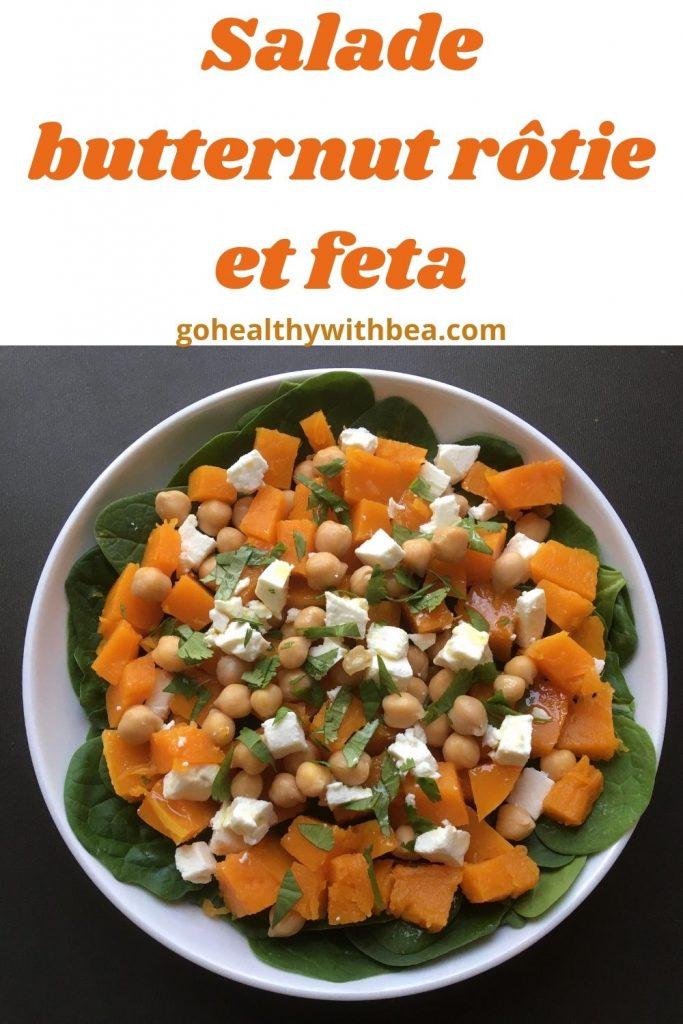 graphisme avec une photo de salade butternut et feta et le titre écrit en orange