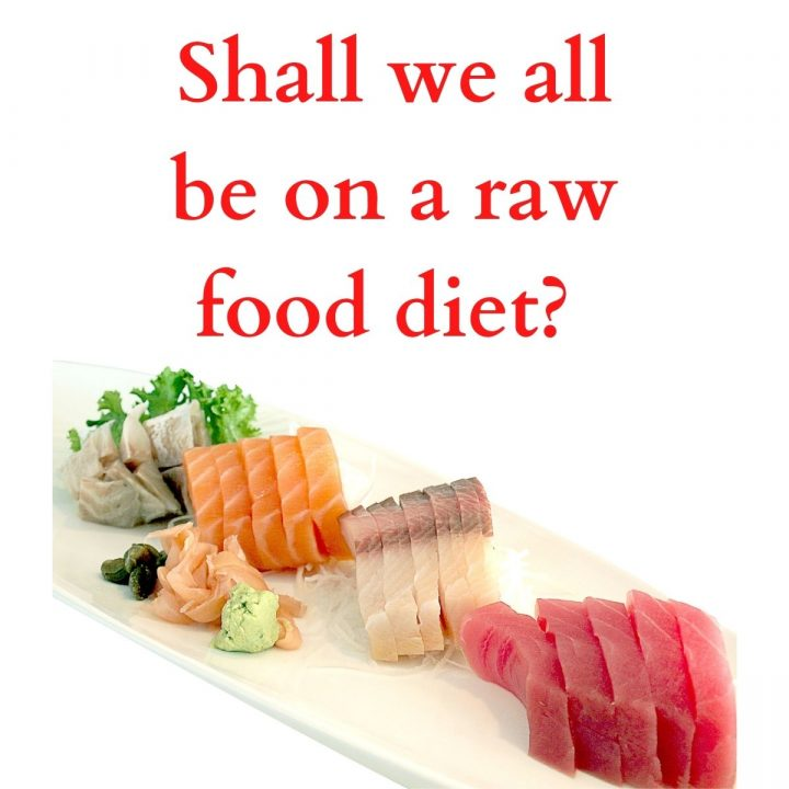 a board full of raw food and a title