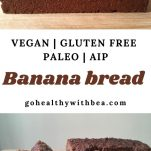 2 pictures of a vegan gluten free banana bread and a text overlay in the middle with the title
