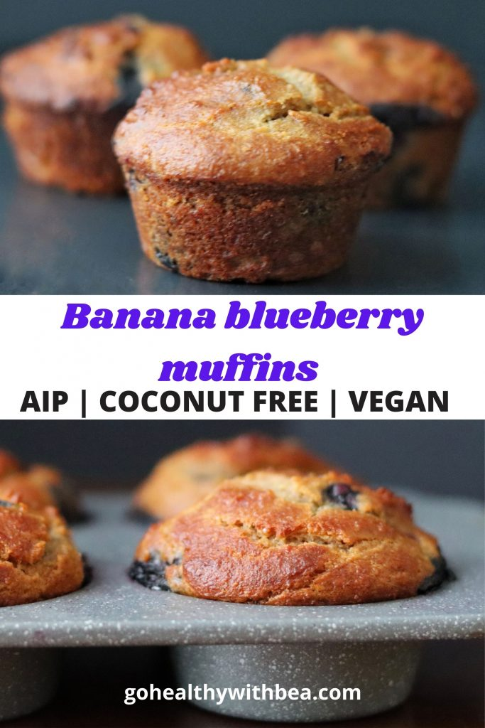 2 pictures of banana bluebrry muffins and a text overlay in the middle with the title