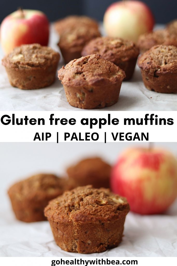apple muffins and apples on 2 different pictures with a text overlay in the middle