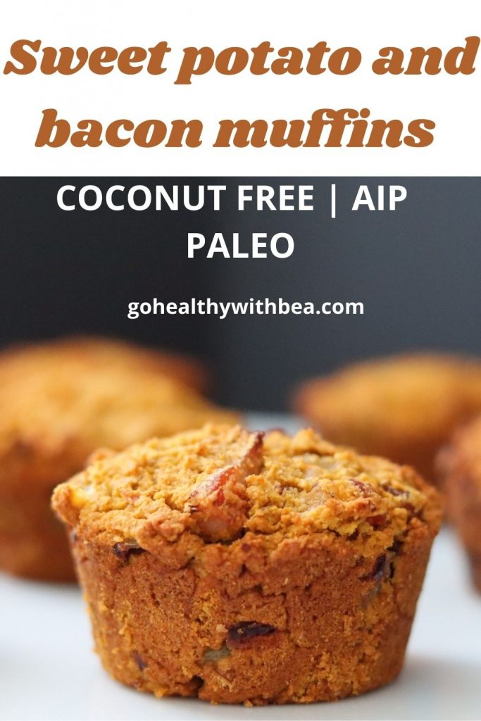4 sweet potato and bacon muffins on a white plate and a text overlay