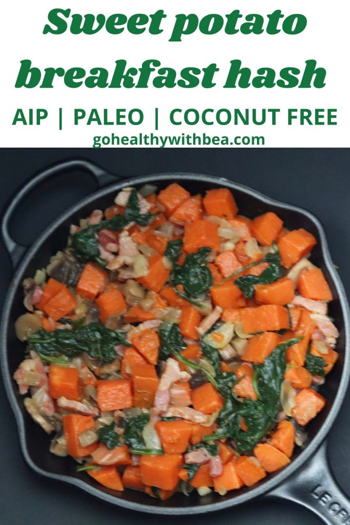a graphic with a picture of sweet potato breakfast hash in a black skillet and a text overlay