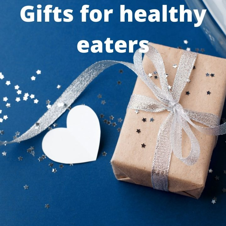 """picture of a wrapped package and a paper heart with the title """"gifts for healthy eaters"""""""
