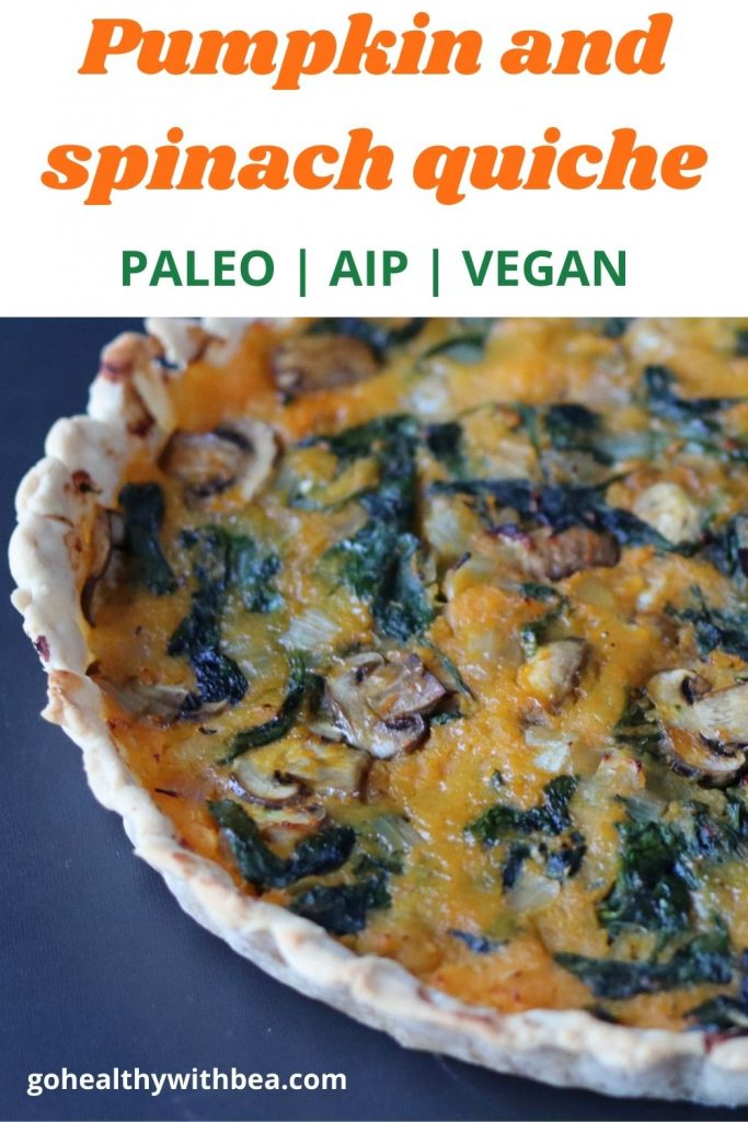 a graphic with the picture of a pumpkin and spinach quiche and the title