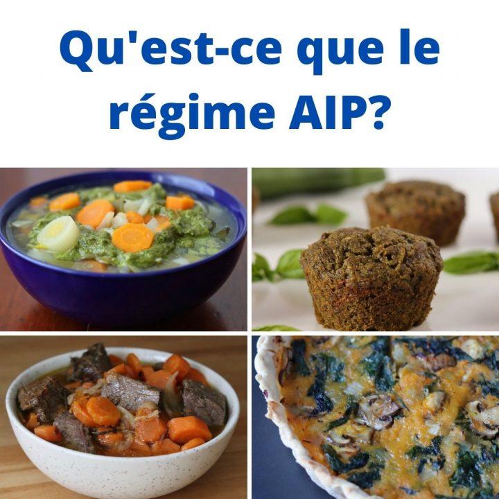 """Graphisme avec 4 photos de mets AIP et le titre """"qu'est-ce que le régime AIP?"""""""