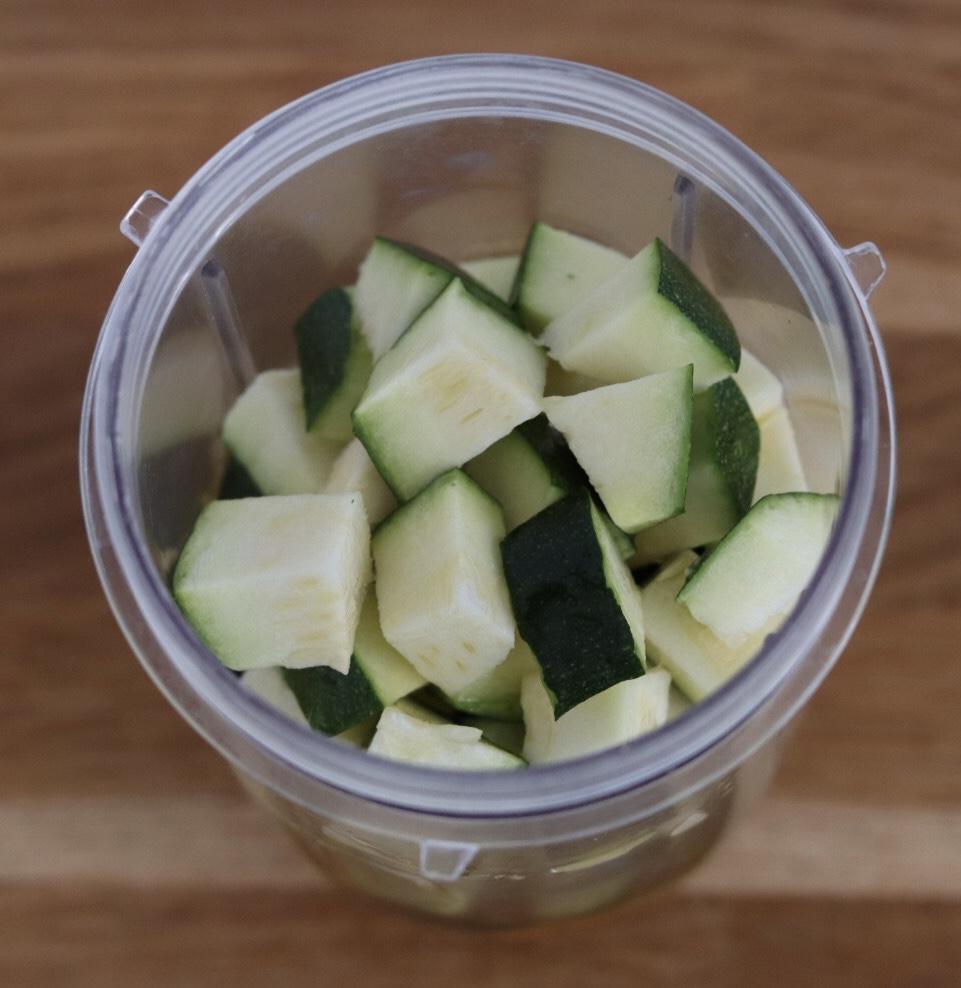 zucchini pieces in a blender