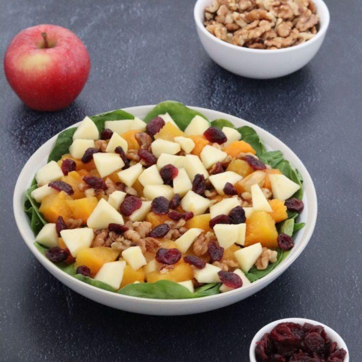 salade de butternut rôtie dans une assiette blanche, une pomme, un petit bol de cranberries séchées et un bol de cerneaux de noix