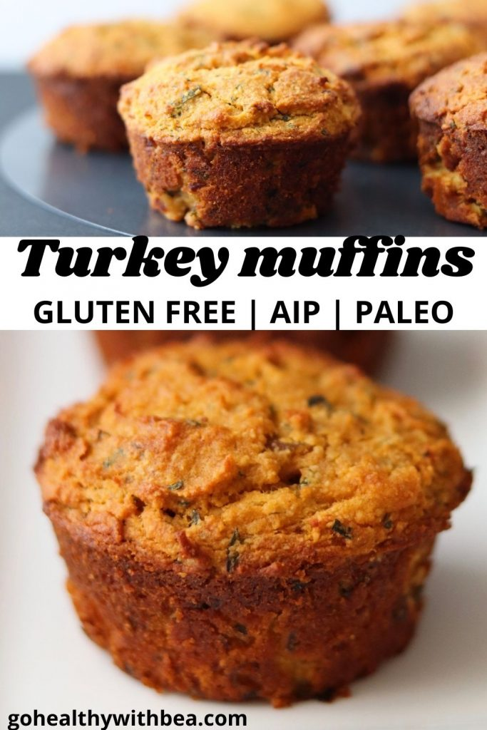 a graphic with 2 pictures of turkey muffins and the title in between